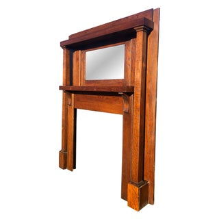 Antique Arts & Crafts Mission Quartersawn Oak Fireplace Mantel With Mirror Preview
