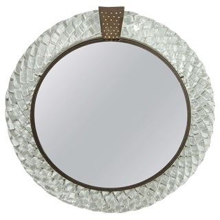 Italian Murano Art Glass and Bronze Wall or Vanity Mirror For Sale