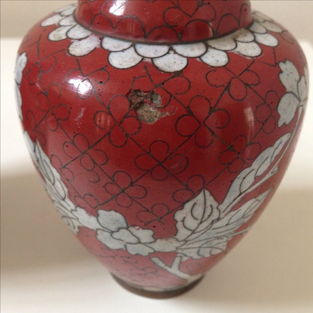 Red Cloisonne Vases - Pair - Image 11 of 11