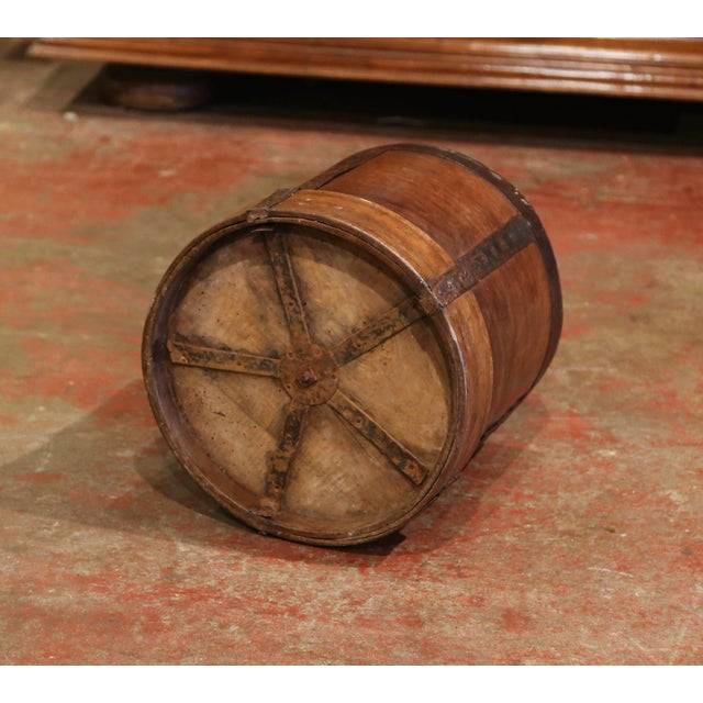 19th Century French Walnut and Iron Grain Measure Bucket or Waste Basket For Sale In Dallas - Image 6 of 10
