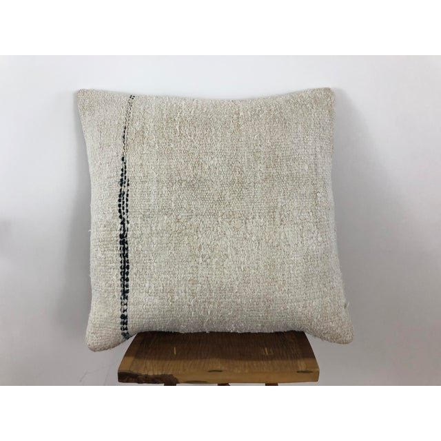 Vintage hemp pillow cover with canvas backing and hidden zipper. Hemp flatweave rug was handmade in Turkey circa 1960's....