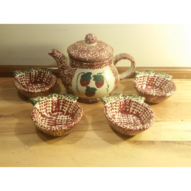 Ceramic Speckled Strawberry Motif Pitcher & Bowls - Set of 5 - Image 2 of 8