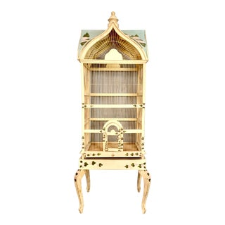 Large Antique Victorian Hand Painted Bird Cage For Sale
