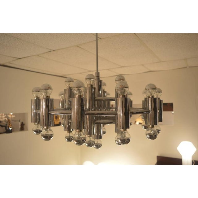 Chrome Extra Large Chrome-Plated Chandelier with 37-Light Fixtures For Sale - Image 7 of 9