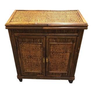 Wicker/Wood Two Door Chest For Sale