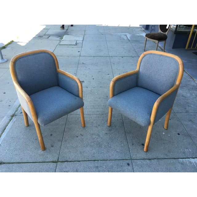 1980s Vintage Sculptural Oak Frame Arm Chairs - a Pair For Sale - Image 11 of 11