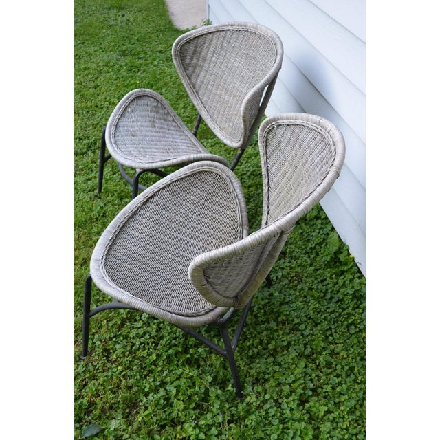 1960s Salterini Wicker Clamshell Chairs, Pair, With Steel Frame for Home, Patio, Porch For Sale - Image 5 of 13