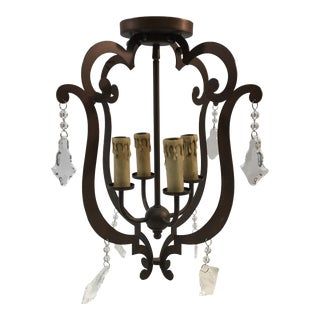 Quorum Flush Mount Chandelier in Vintage Copper For Sale