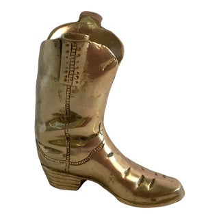 20th Century Country Brass Cowboy Boot For Sale
