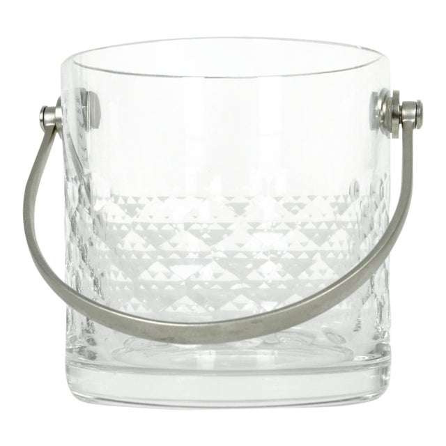 Baccarat Crystal Ice Bucket With Plated Handle For Sale