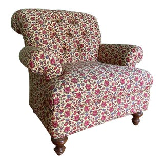 Late 20th Century Pink Blue and Creme Floral Upholstered Armchair For Sale