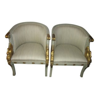 Pair of Hollywood Regency Style Gilded Swan Armchairs or Occasional Chairs For Sale