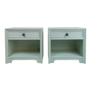 Vintage Stanley Mint Green Nightstands - a Pair