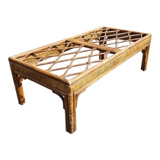 Vintage Mid-Century Modern Rustic Rattan Bamboo Brown Coffee Table For Sale