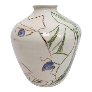 Postmodern Vase With Abstract Head Portraits Figures in Jean Cocteau Style For Sale