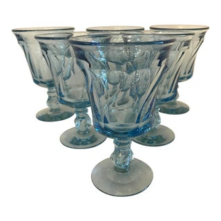 Vintage Fostoria Peacock Blue Water Goblets - Set of 6 For Sale