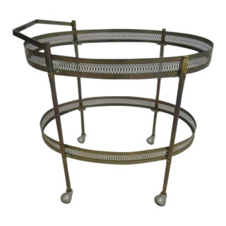 Vintage Brass Oval French Regency Tea Cart