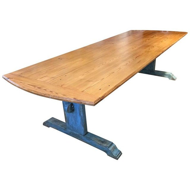 Wood 19th Century Scandinavian Painted Dining Table With Trestle Base For Sale - Image 7 of 7
