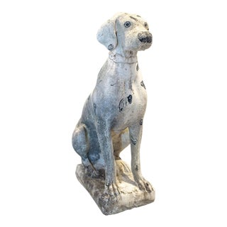 Vintage Mid Century Stone Dalmatian Dog Statue For Sale