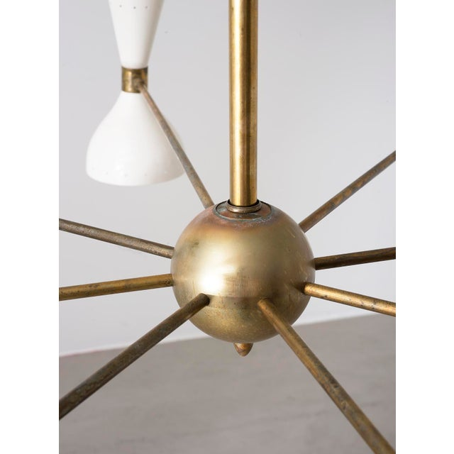 Stilnovo Eight Arm Diabolo Chandelier, Italy, 1950s For Sale - Image 9 of 12