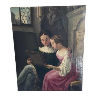 Antique Gothic Interior Scene Painting