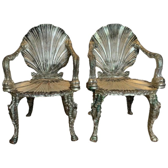 Early 20th Century Antique Silver Leaf Grotto Chairs- A Pair For Sale