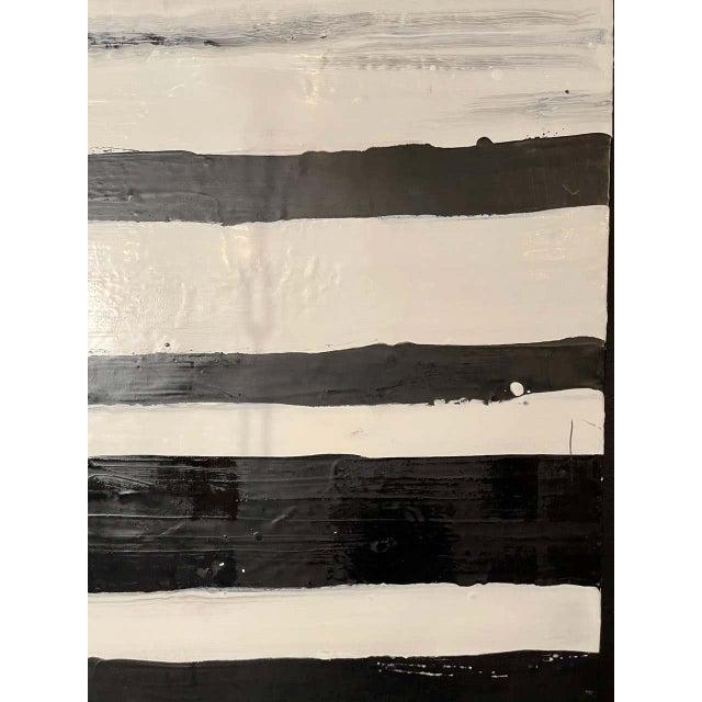 "Encaustic Lynn Basa Encaustic Black and White Stripe Panel ""Doppleganger"" 2013 For Sale - Image 7 of 12"