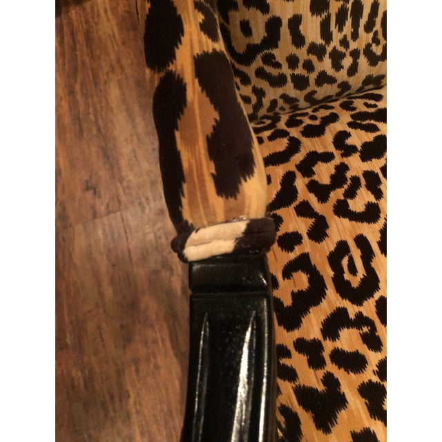 2010s Black Lacquered Jamil Velvet Leopard Armchairs - A Pair For Sale - Image 5 of 14