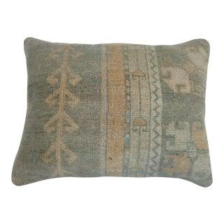 Vintage Turkish Oushak Rug Pillow For Sale
