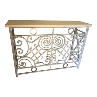1940s Shabby Chic Grey & Silver Painted Iron Console For Sale