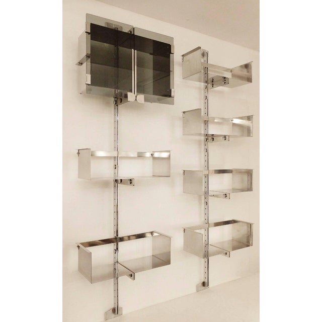Two Vittorio Introini Chrome Modulable Shelving Systems for Saporiti, Italy 1969 For Sale - Image 10 of 10