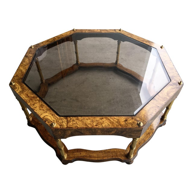 Vintage Wood & Beveled Glass Octagon Coffee Table - Image 1 of 4