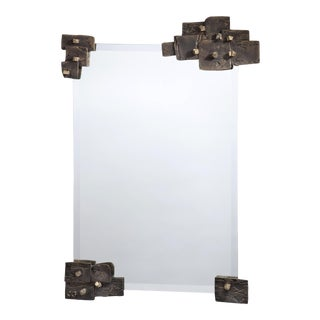 Slate Aged Brass Mirror by Christine Rouviere For Sale
