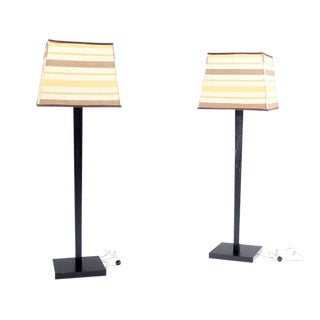 Two Large Floor Lamp Torcheres in Cerused Ebonised Oak with Box Shape Shades For Sale