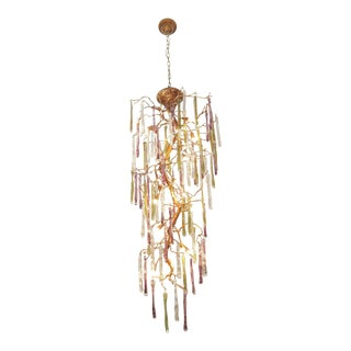 Modernist Gilt Bronze and Colorful Art Glass Chandelier For Sale