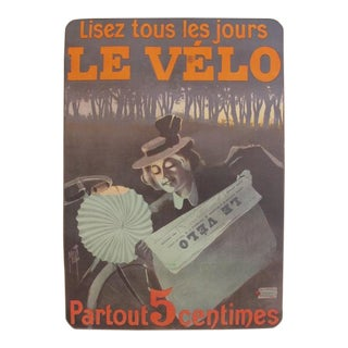 1899 Original Vintage French Newspaper Advertisement Poster, Lisez Le Velo For Sale