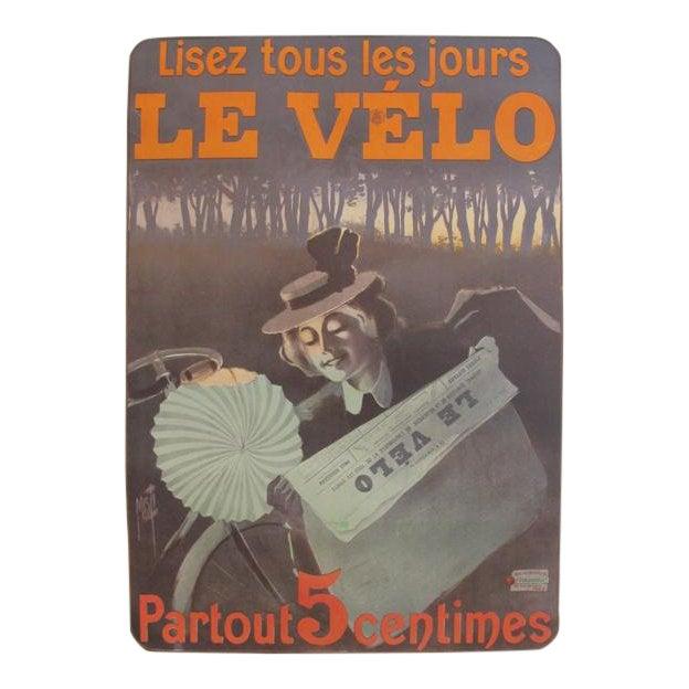 1899 Original Vintage French Newspaper Advertisement Poster, Lisez Le Velo For Sale