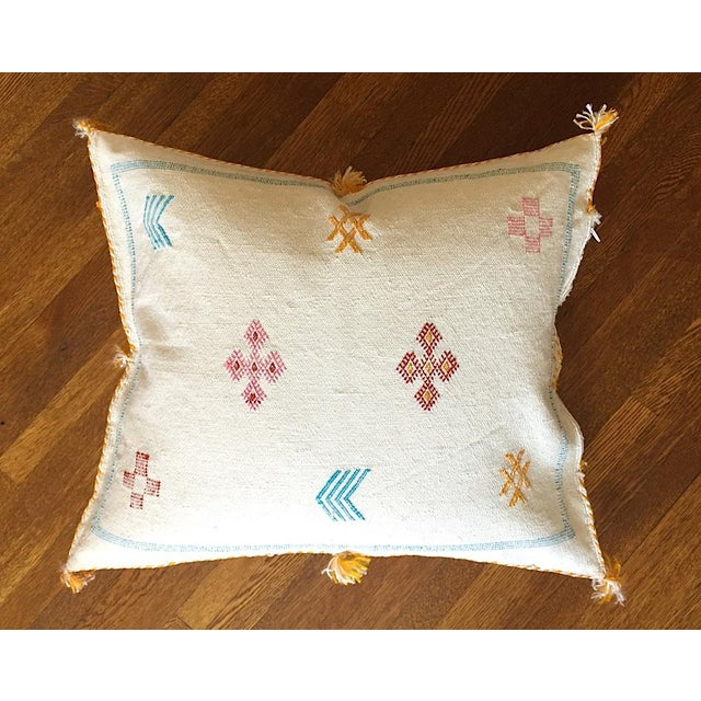 White Moroccan Sabra Cactus Silk Pillow Cover - Image 2 of 10