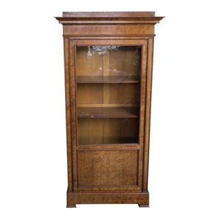French 19th Century Chestnut Bookcase with Original Glass Door For Sale