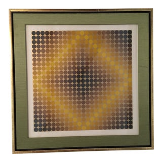 "1960s Modern Signed Framed Serigraph, ""Dia or Cf"" by Victor Vasarely For Sale"