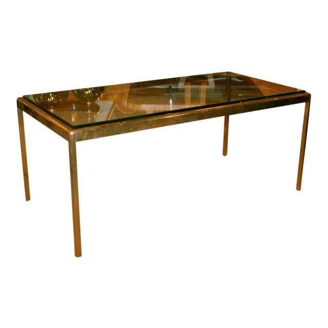 Bronze and Bird's Beak Glass Top Terry Table for Scope Furniture For Sale