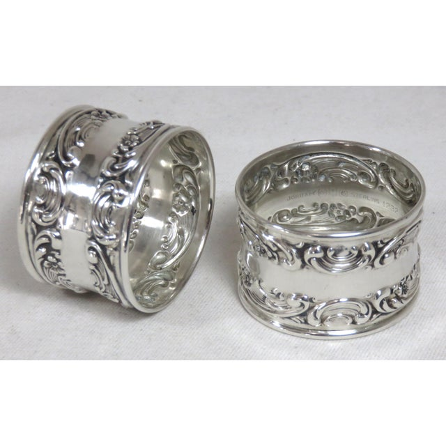 Metal Vintage Victorian Gorham Sterling Silver Napkin Rings - a Pair For Sale - Image 7 of 12