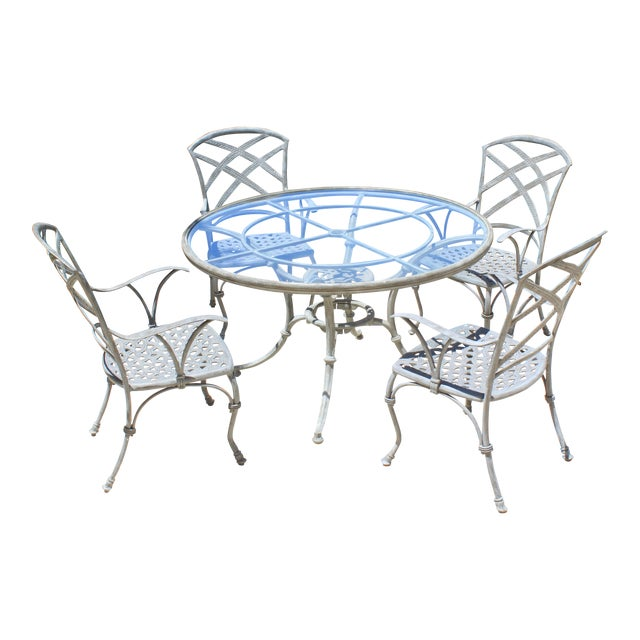 French Iron Garden Dining Set - 5 Pieces For Sale