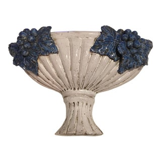 Italian Pottery Grape Cluster Wall Plaque For Sale