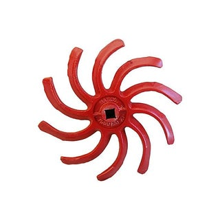 Vibrant Cherry Red Cast Iron Cultivator Wheel