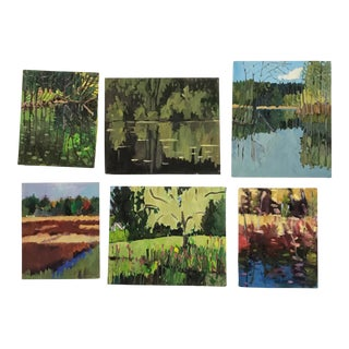 1990s Oil Paintings by Leslie Miller - Set of 6 For Sale
