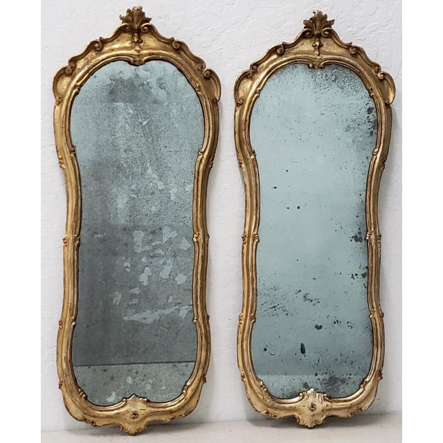 Late 19th Century Matching Pair of 19th Century Italian Hand Carved & Gilded Mirrors For Sale - Image 5 of 10