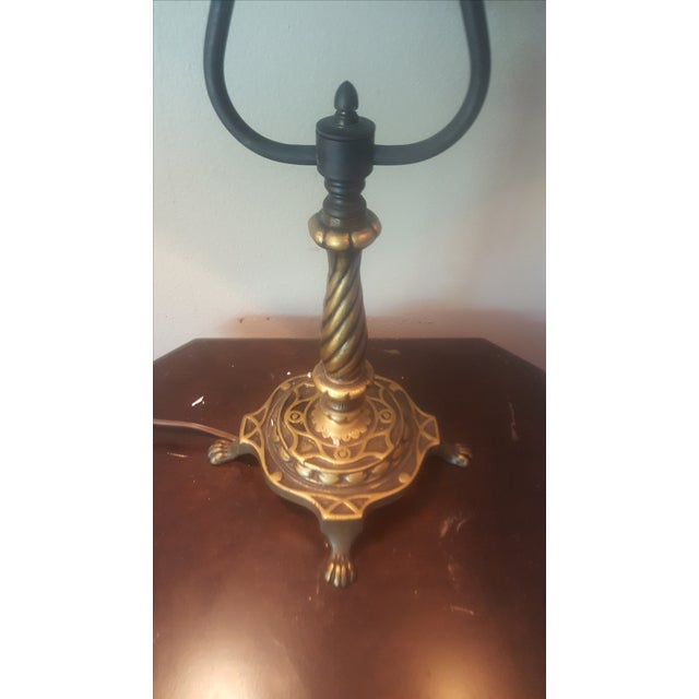 Vintage Industrial Two Arm Accent Lamp With Metal - Image 4 of 8