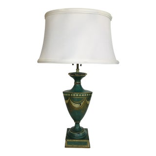 Vintage Tole Lamp With Shade For Sale