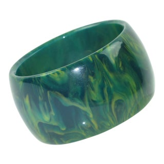 Bakelite Bangle Bracelet Blue-Moon Marble Oversized Wide Shape For Sale